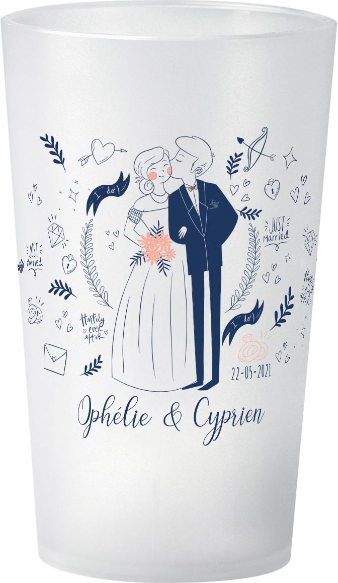gobelet Mariage-Personnage-Ophelie&Cyprien